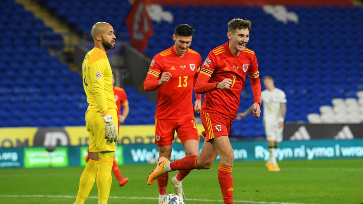 David Brooks of Wales celebrates