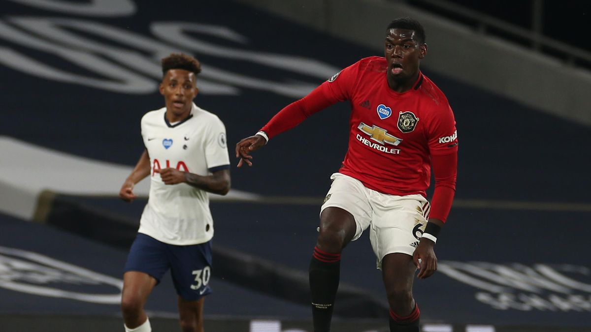 Paul Pogba of Manchester United in action during the Premier League match between Tottenham Hotspur and Manchester United at Tottenham Hotspur Stadium on June 19, 2020 in London, England.