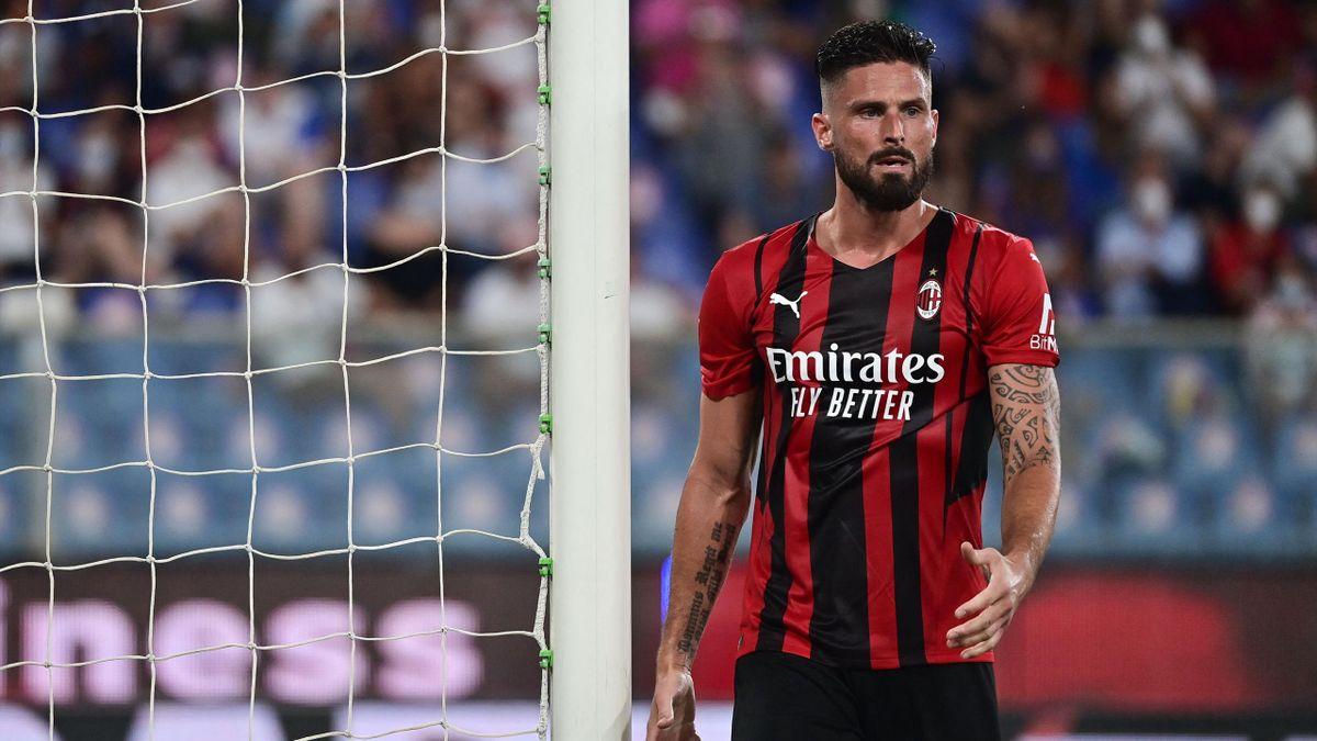 Olivier Giroud lors du match opposant la Sampdoria à l'AC Milan, le 23 août 2021 en Serie A
