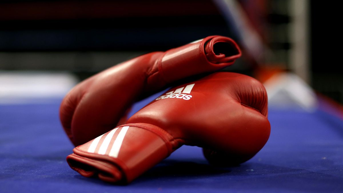 A detailed view of the boxing gloves