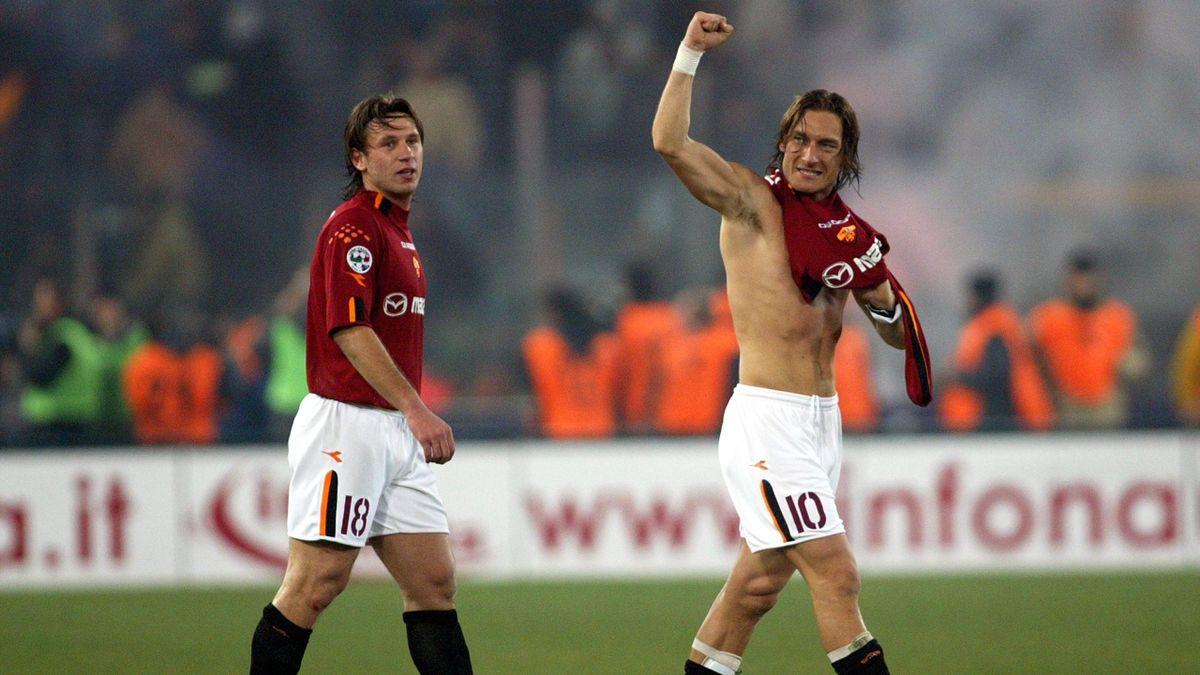 Antonio Cassano e Francesco Totti in Roma-Juventus 4-0, 8 febbraio 2004