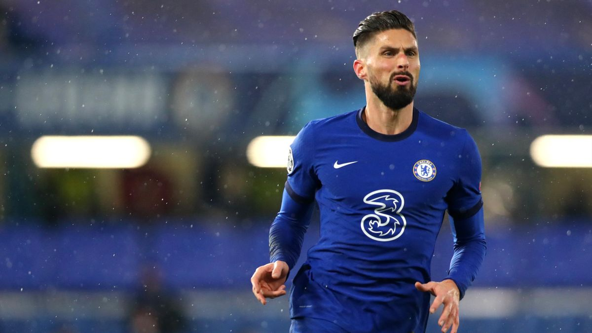 Olivier Giroud of Chelsea FC during the UEFA Champions League Group E stage match between Chelsea FC and FC Krasnodar at Stamford Bridge on December 08, 2020 in London, England