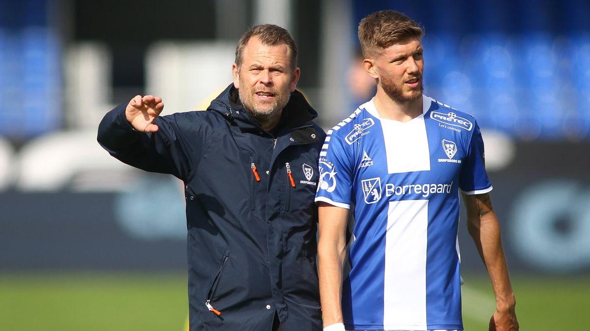 Sarpsborg 08-trener Mikael Stahre og midtbanespiller Anton Salétros.