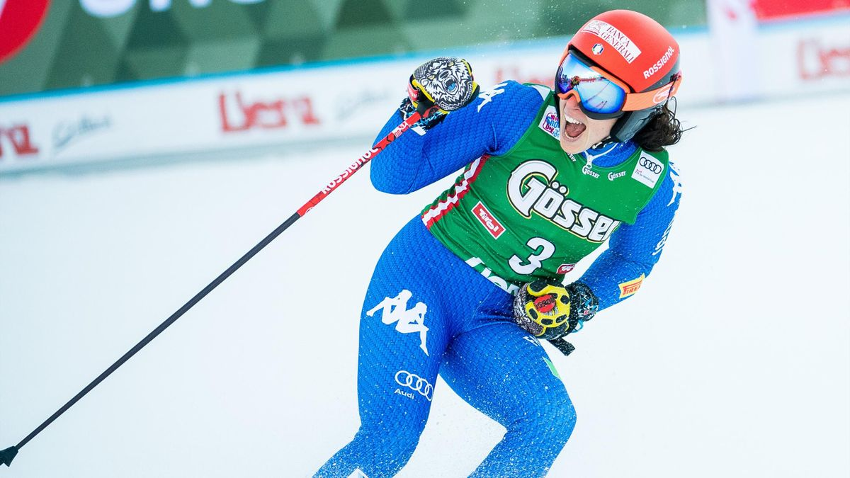 Federica Brignone of Italy celebrates after winning the Ladies' Giant Slalom event of the FIS Ski World Cup in Lienz, Austria on December 29, 2017.