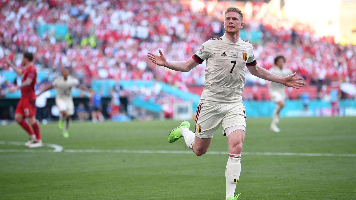 Belgiens Kevin De Bruyne trifft gegen Dänemark