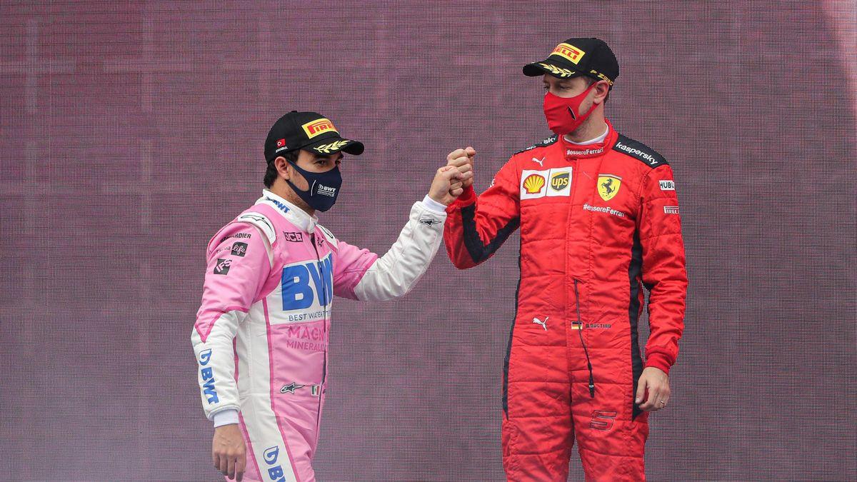 Sebastian Vettel (rechts) und Sergio Pérez