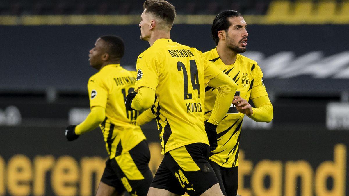 Emre Can, Thomas Meunier und Youssoufa Moukoko von Borussia Dortmund