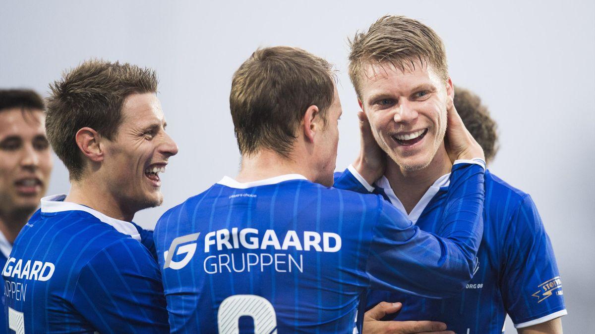 Sarpsborg 08s Sigurd Rosted feirer 3-1-målet under eliteseriekampen i fotball mellom Sarpsborg 08 og Sogndal på Sarpsborg stadion.