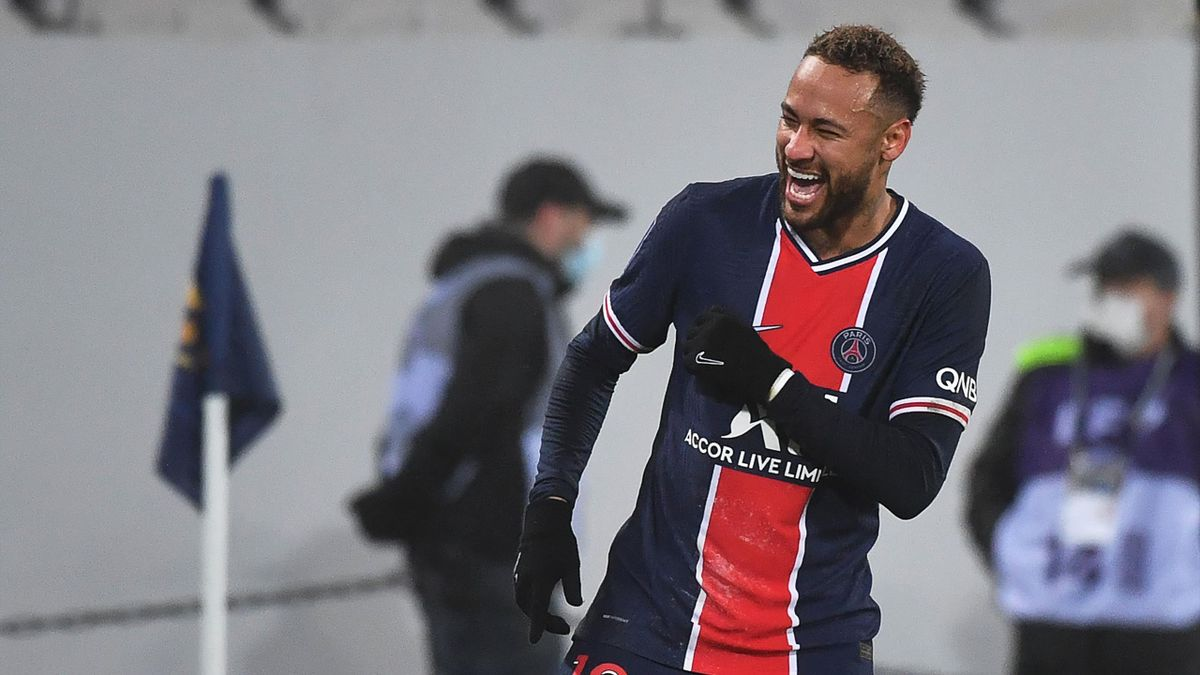 Neymar lors du Trophée des champions en 2021 remporté par le PSG contre l'OM