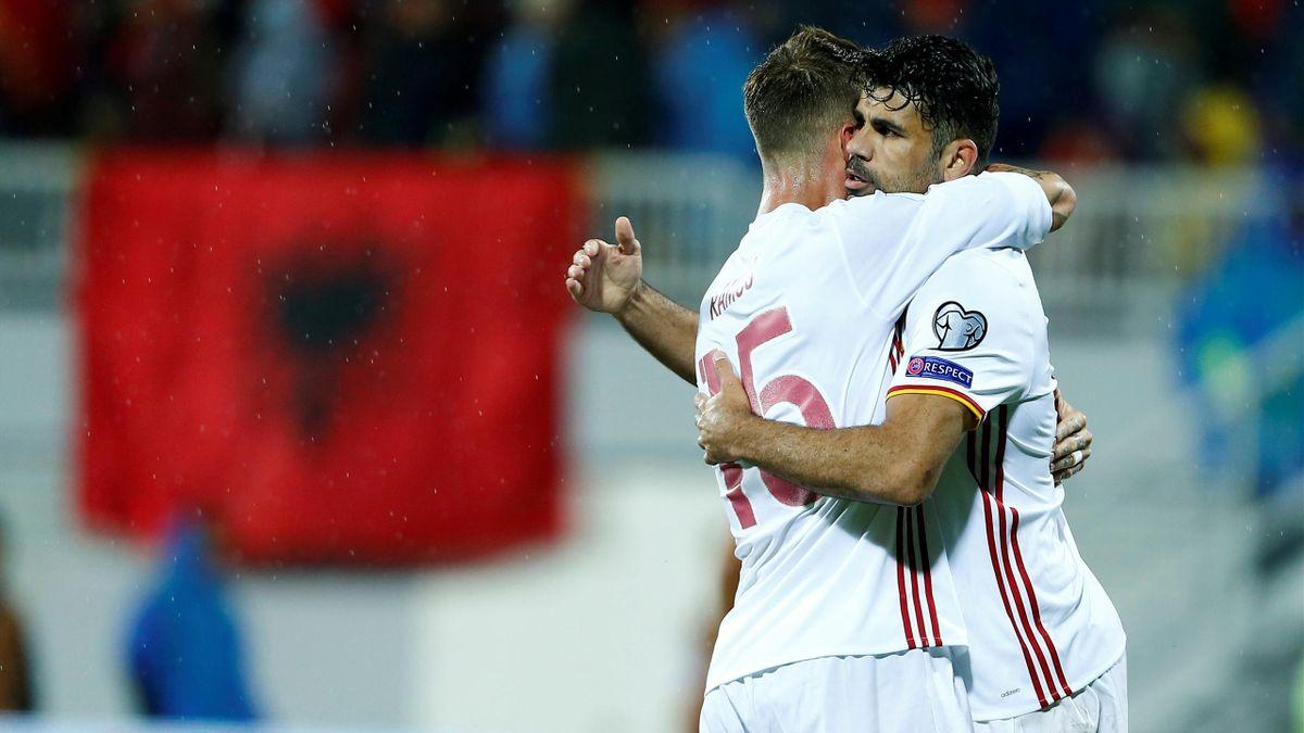 Spain's Diego Costa celebrates his goal wih team mates.