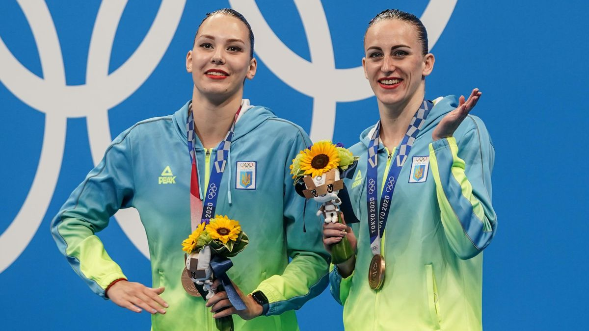 Bronze medallists Ukraine's Marta Fiedina and Ukraine's Anastasiya Savchuk pose with their medals on the podium after the final of the women's duet free routine artistic swimming event