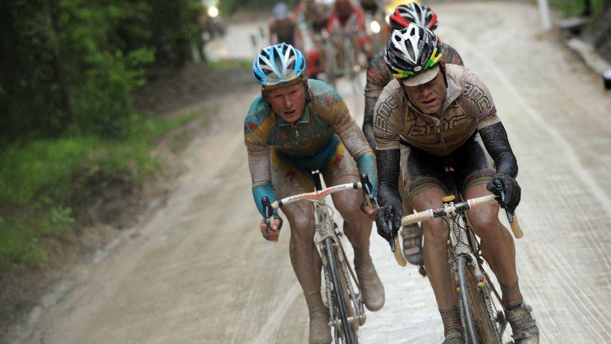 Cadel Evans et Alexandre Vinokourov sur la 7e étape du Giro