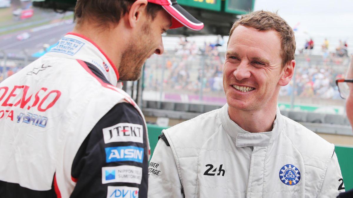 Alex Wurz (Toyota) y Michael Fassbender (24 Horas de Le Mans 2019)