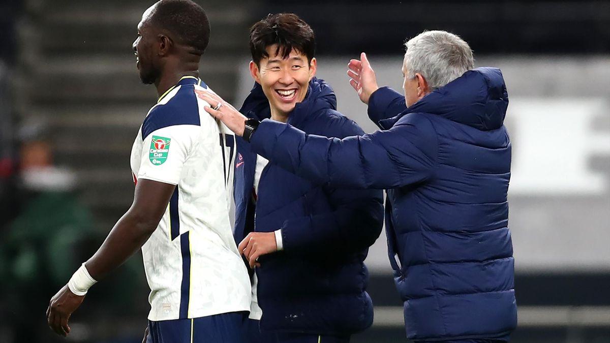 Jose Mourinho congratulates Son Heung-Min and Moussa Sissoko, after Tottenham reach the League Cup final.