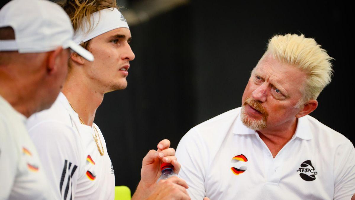 Alexander Zverev (Mitte) und Boris Becker (r.)