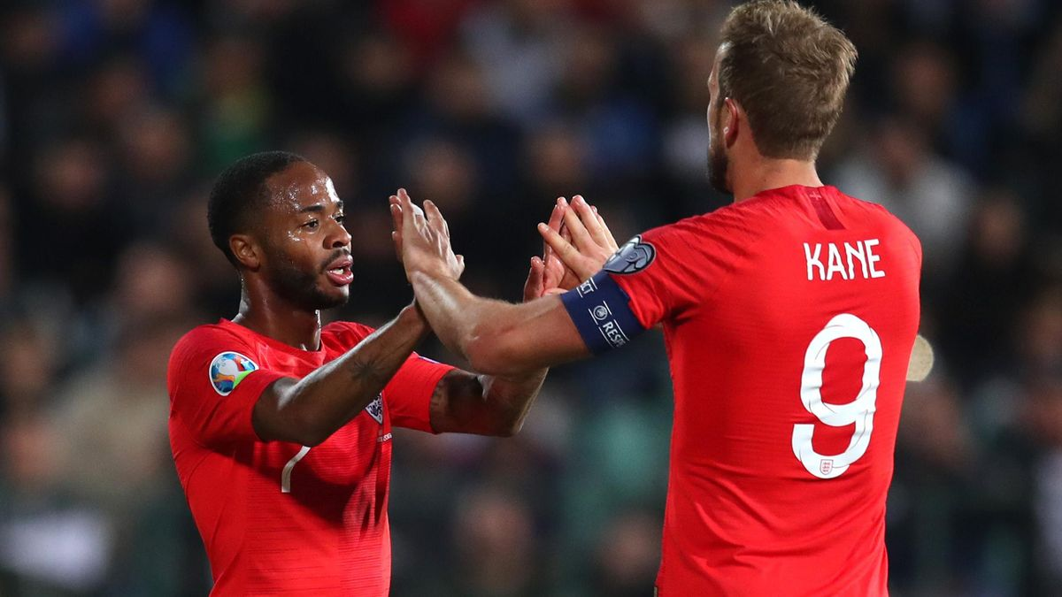Raheem Sterling of England celebrates with Harry Kane after he scores his sides fifth goal during the UEFA Euro 2020 qualifier between Bulgaria and England on October 14, 2019 in Sofia, Bulgaria