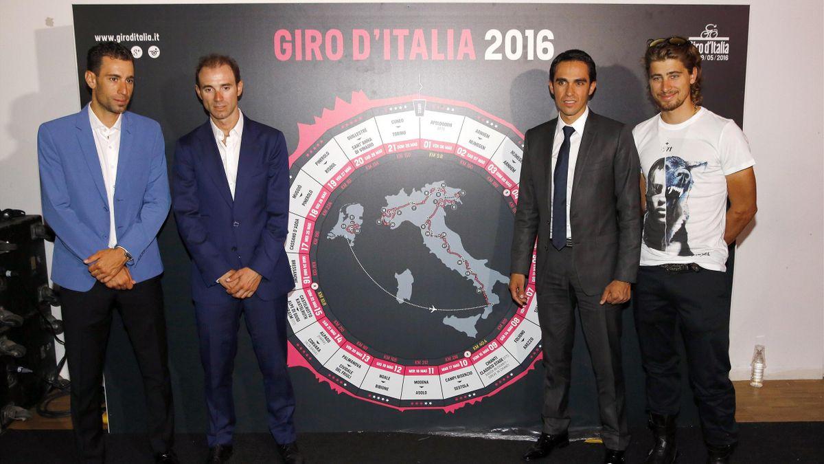 Nibali, Valverde, Contador e Sagan alla presentazione del Giro d'Italia, AFP