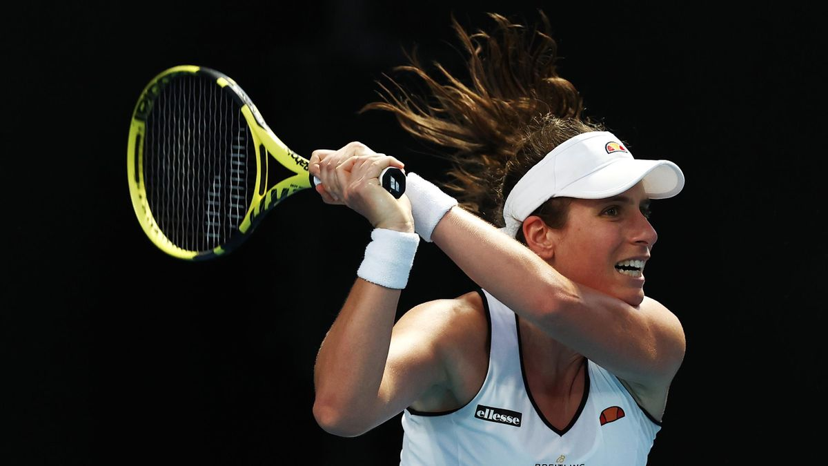 Johanna Konta of Great Britain plays a backhand in her Women's Singles first round match against Kaja Juvan of Slovenia during day two of the 2021 Australian Open at Melbourne Park on February 09
