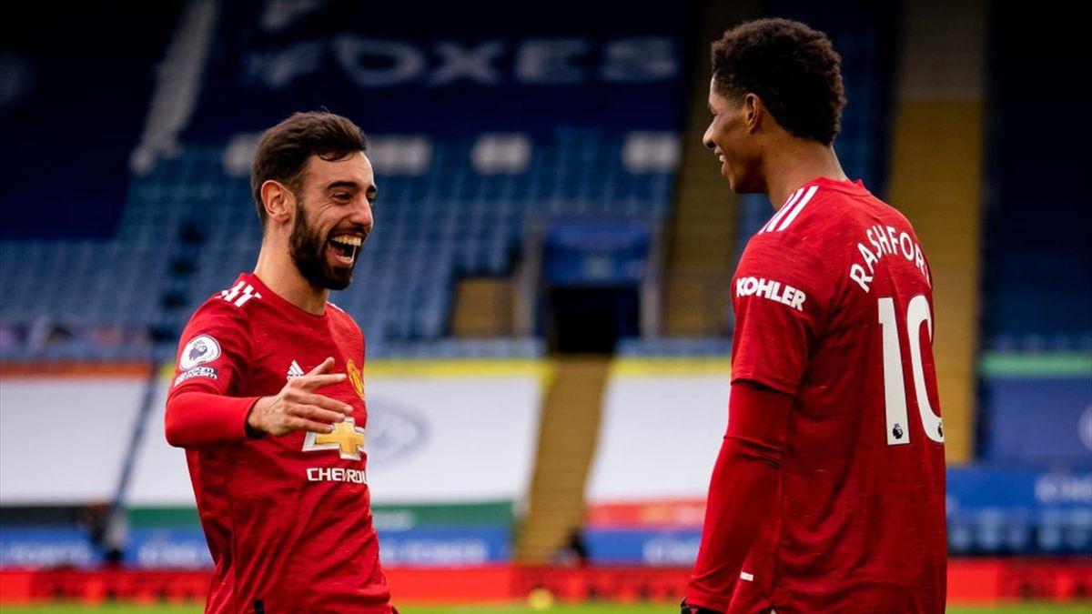 Rashford, Bruno Fernandes - Leicester City-Manchester United - Premier League 2020/2021 - Getty Images