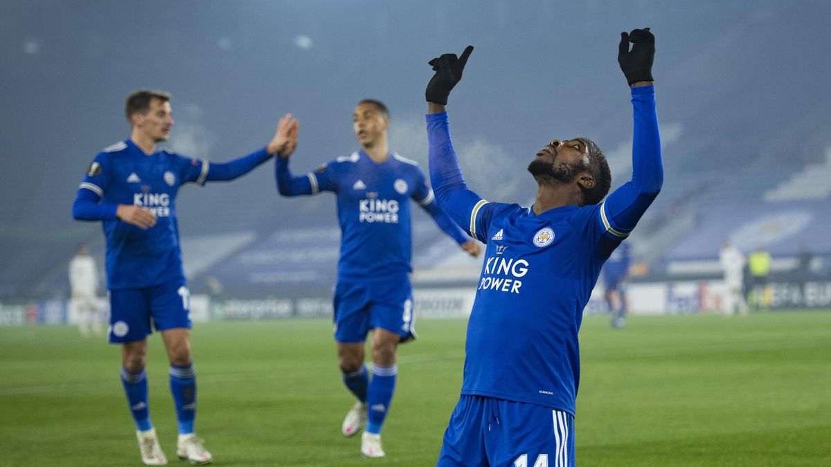 Kelechi Iheanacho of Leicester City celebrates scoring the first goal during the UEFA Europa League Group G stage match between Leicester City and SC Braga at The King Power Stadium on November 5, 2020 in Leicester, United Kingdom