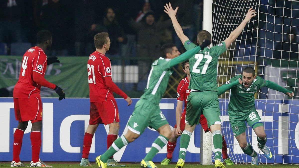 Georgi Terziev (R) of Ludogorets celebrates after scoring a goal against Liverpool (Reuters)