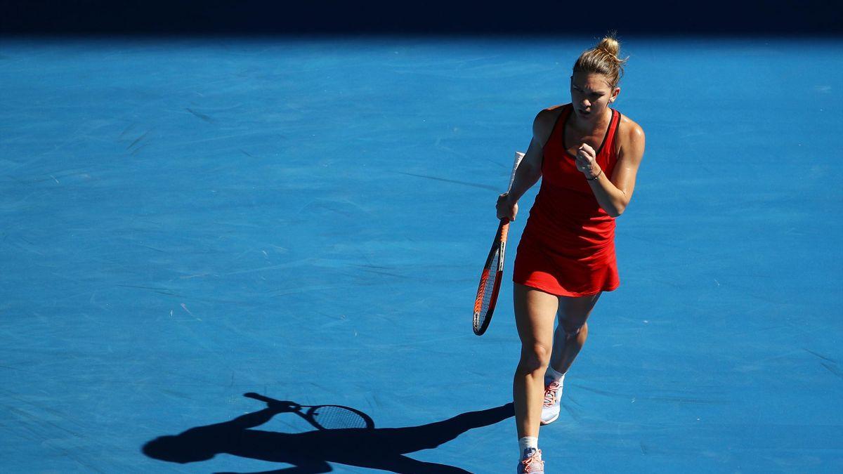Simona Halep après sa victoire contre Karolina Pliskova en quart de finale de l'Open d'Australie