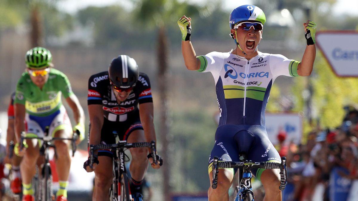 Orica-GreenEdge's Australian cyclist Caleb Ewan (R) celebrates ahead of Giant-Alpecin's German cyclist John Degenkolb (C) and Tinkoff-Saxo's Slovenian cyclist Peter Sagan, winning the fifth stage of the 2015 Vuelta Espana cycling tour, a 167.3km stage bet