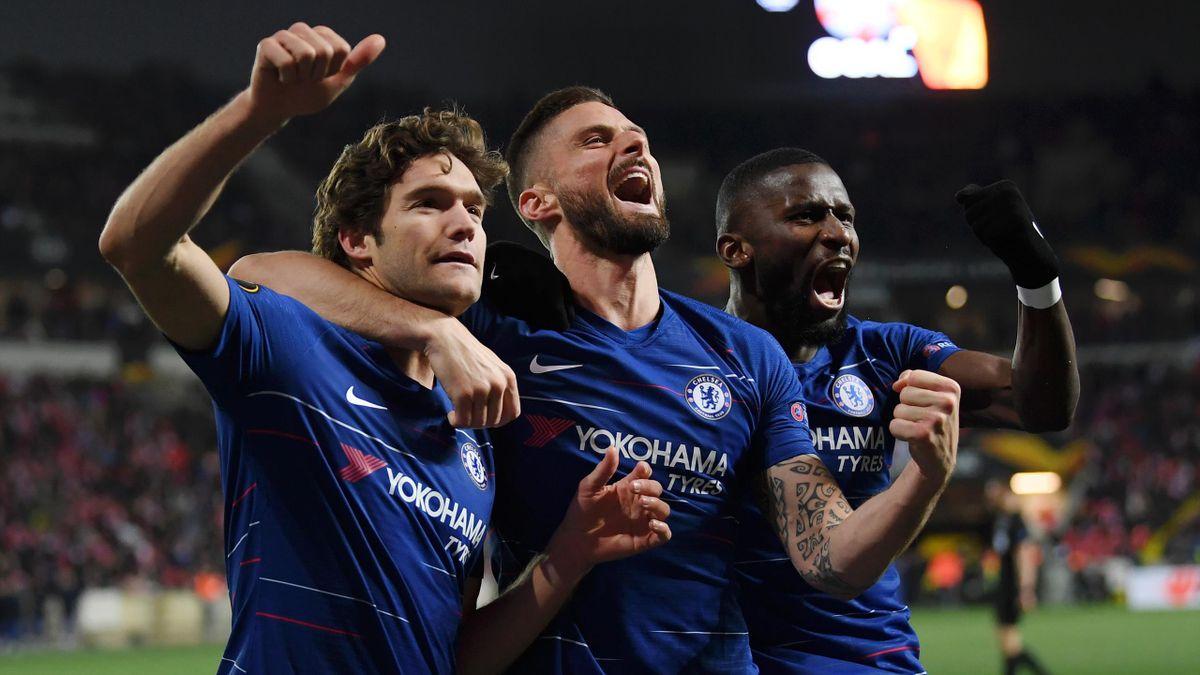 Marcos Alonso, Olivier Giroud und ANtonio Rüdiger vom FC Chelsea