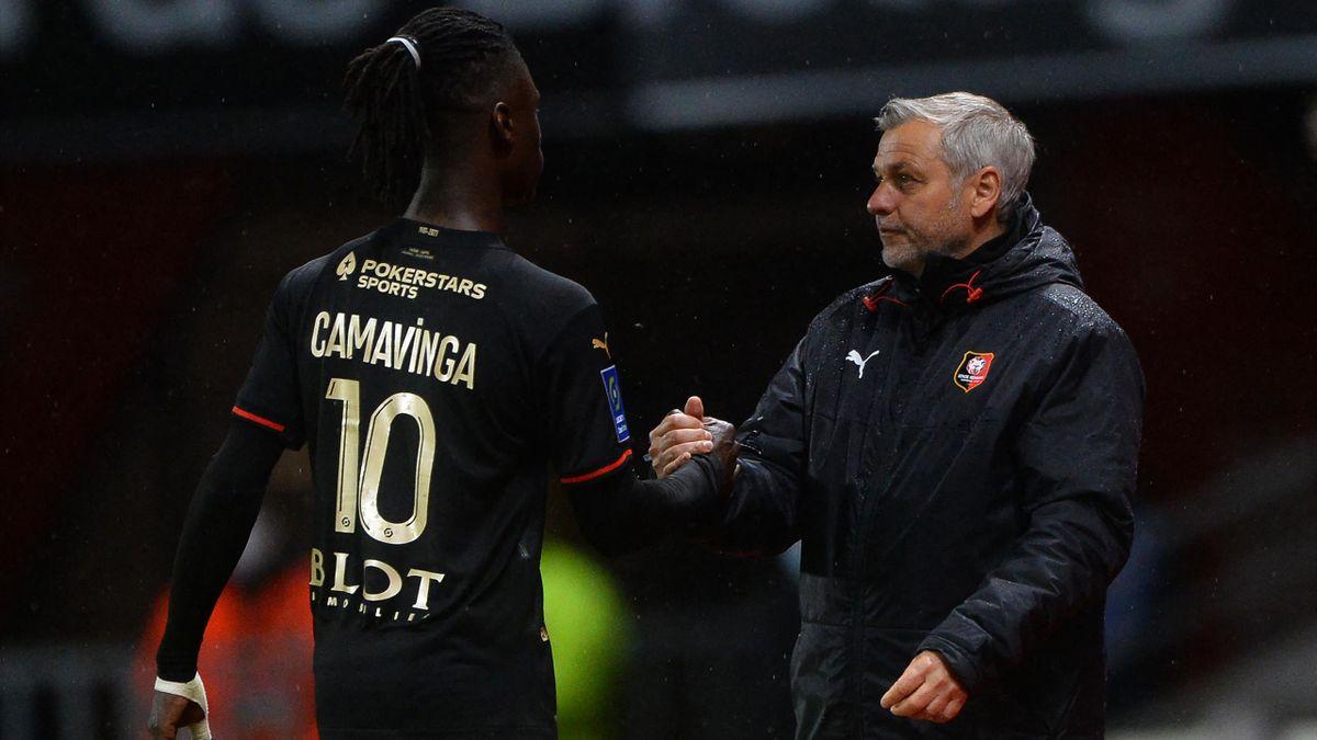 Eduardo Camavinga aux côtés de Bruno Génésio, son ex-entraîneur à Rennes.