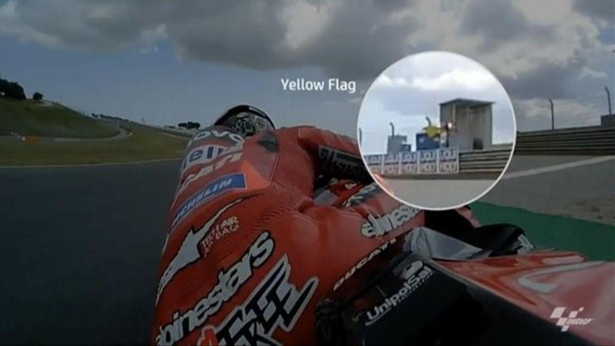 La bandiera gialla non vista da Bagnaia e che gli è costata la pole a Portimao, Credit Photo MotoGP
