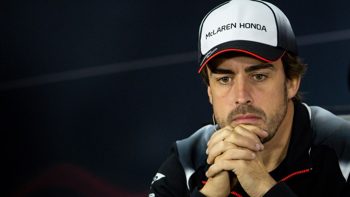McLaren Honda's Spanish driver Fernando Alonso gestures during the drivers press conference