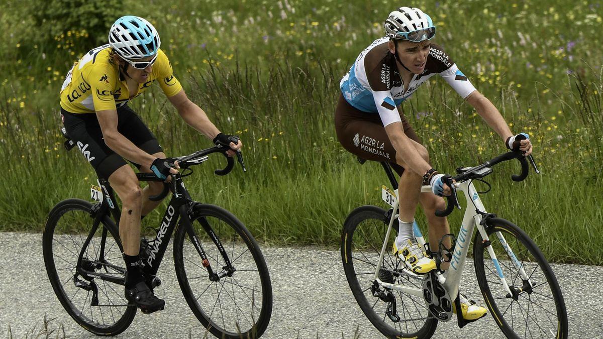 Romain Bardet et Geraint Thomas sur les pentes de la Rosière - Critérium du Dauphiné 2018.