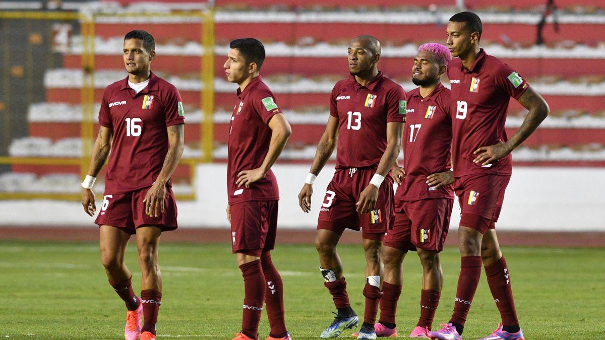 Los jugadores de Venezuela, durante las clasificatorias de la Conmebol para el Mundial de Catar 2022