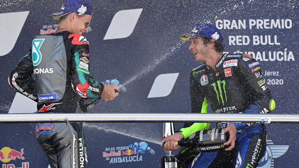 Fabio Quartararo en Valentino Rossi na de GP van Andalusië