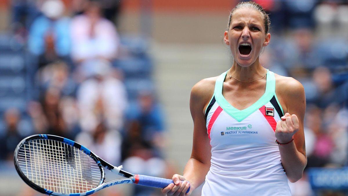 Karolina Pliskova of Czech Republic celebrates her third round match win over Saisai Zheng of China.