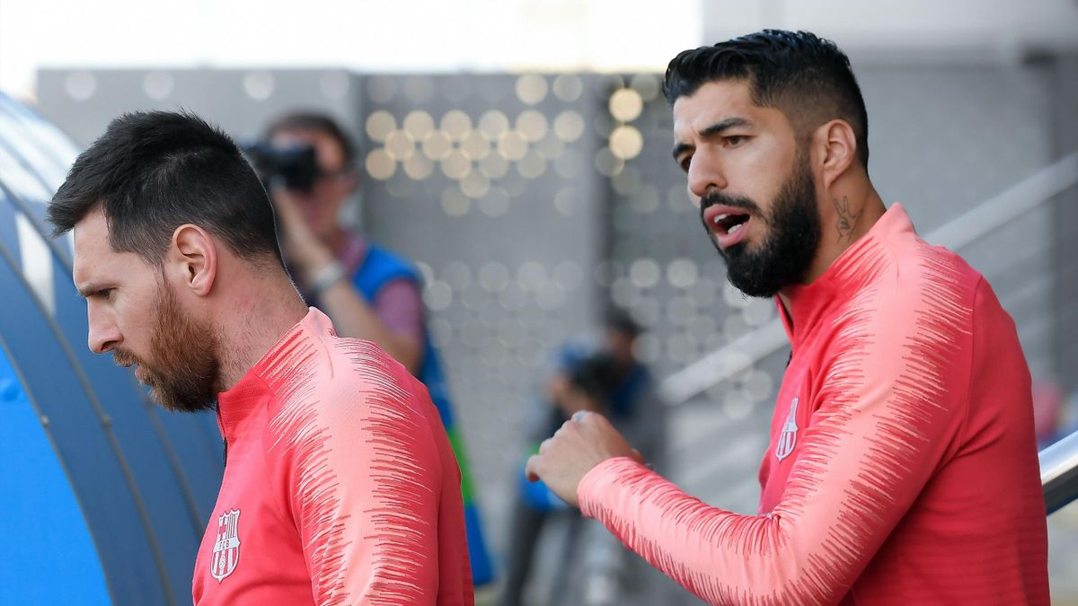 Lionel Messi and Luis Suarez in training on Tuesday