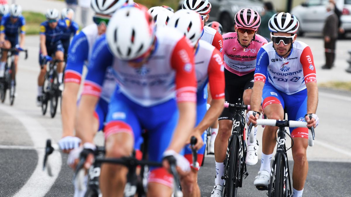 GUARDIA SANFRAMONDI, ITALY - MAY 15: Attila Valter of Hungary and Team Groupama - FDJ Pink Leader Jersey during the 104th Giro d'Italia 2021, Stage 8 a 170km stage from Foggia to Guardia Sanframondi 455m / @girodiitalia / #Giro / #UCIworldtour / on May 15