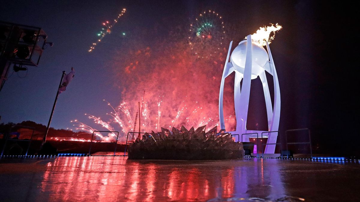 Fireworks erupt as the Olympic Cauldron is lit during the Opening Ceremony of the PyeongChang 2018 Winter Olympic Games at PyeongChang Olympic Stadium on February 9, 2018 in Pyeongchang-gun, South Korea.