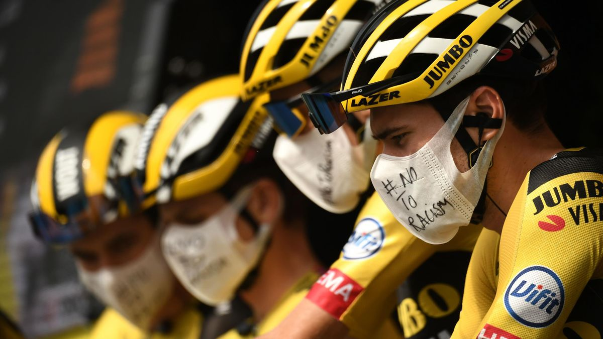 Team Jumbo rider Belgium's Wout van Aert and his teammates wait prior to the 21st and last stage of the 107th edition of the Tour de France cycling race, 122 km between Mantes-la-Jolie and Champs Elysees Paris, on September 20, 2020