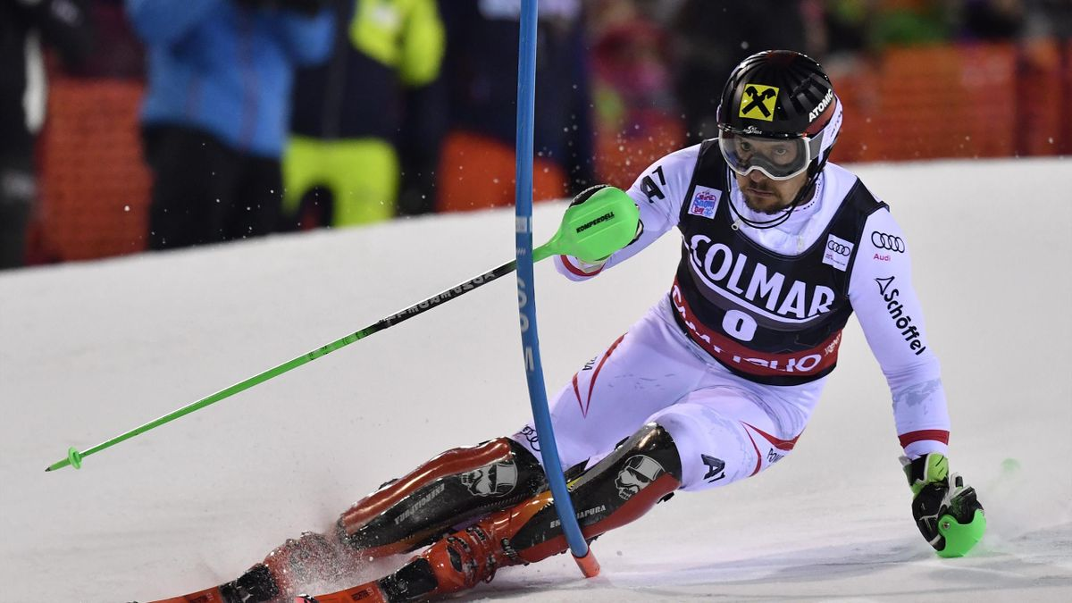 Austria's Marcel Hirscher competes in the FIS Alpine World Cup Men's Slalom on December 22, 2017 in Madonna di Campiglio, Italian Alps.