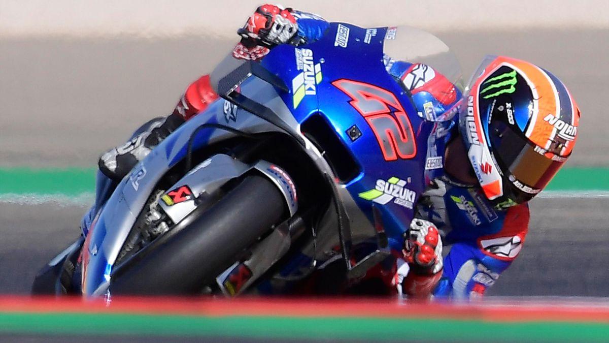 Alex Rins (Suzuki Team) lors du Grand Prix d'Aragon 2020