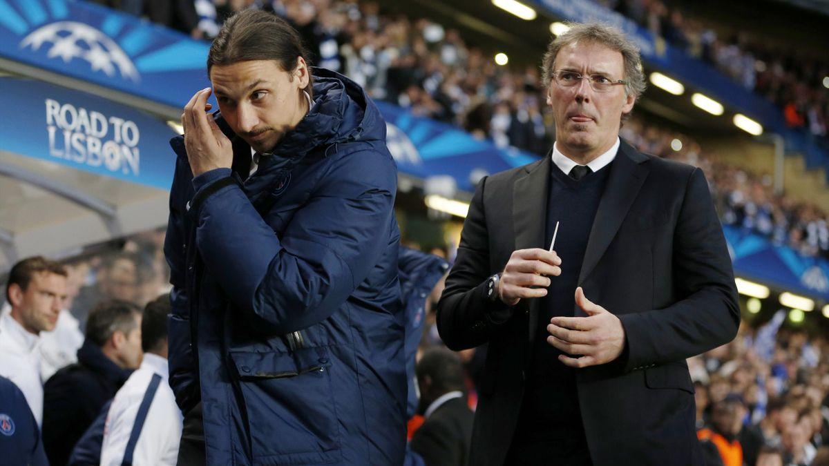 FOOTBALL 2014 PSG - Ibrahimovic et Laurent Blanc