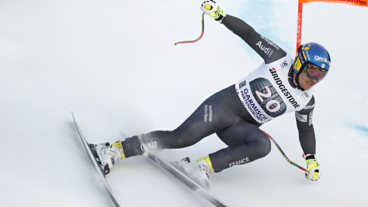 Valentin Giraud Moine durant la descente de Garmisch-Partenkirchen en 2017