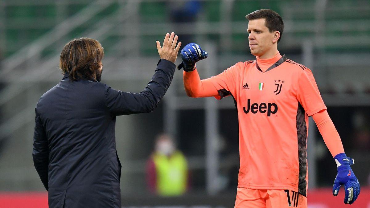 Wojciech Szczesny riceve i complimenti di Andrea Pirlo, Juventus, Getty Images