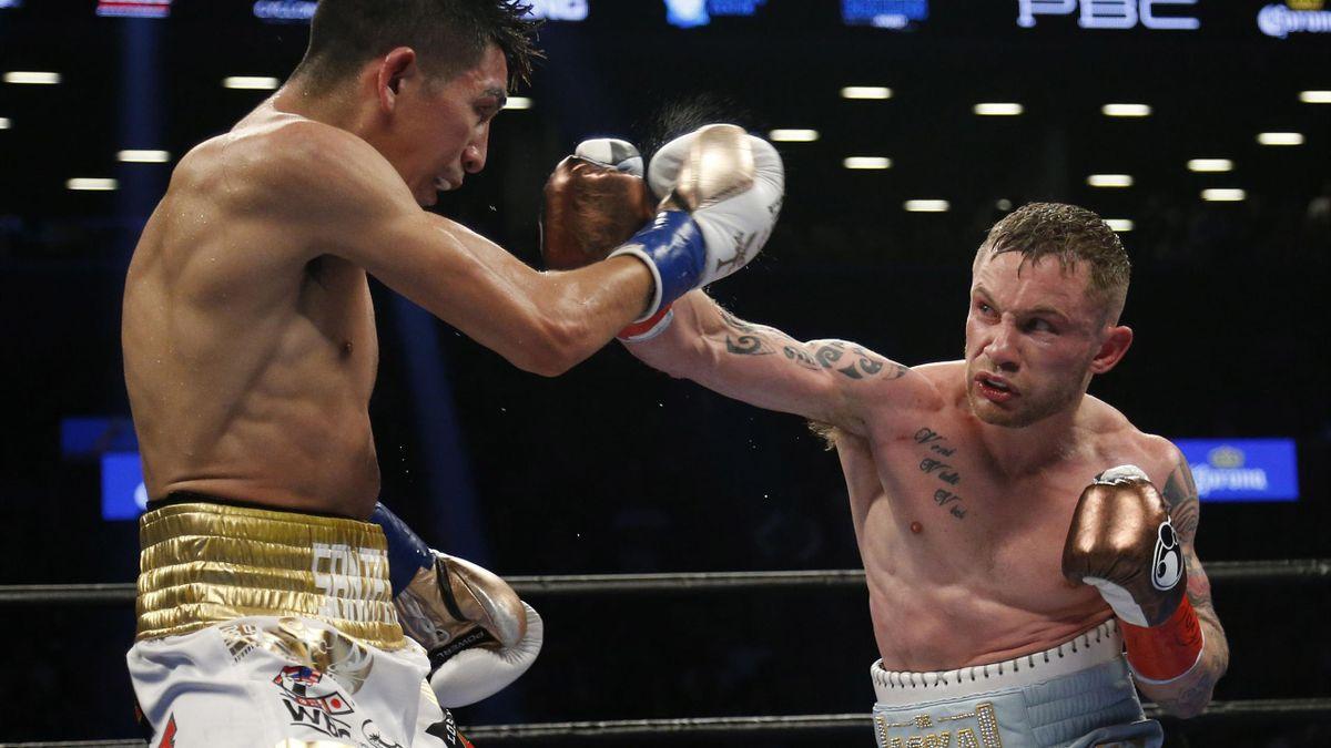 British boxing superstar Carl Frampton in action against Leo Santa Cruz