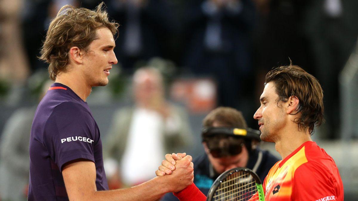 Alexander Zverev (l.) und David Ferrer (r.)