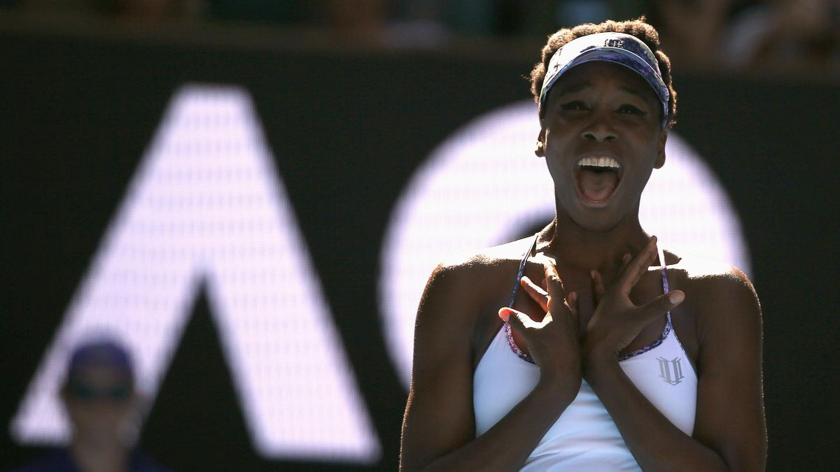 Tennis - Australian Open - Melbourne Park, Melbourne, Australia - 26/1/17 Venus Williams of the U.S. celebrates winning her Women's singles semi-final match against Coco Vandeweghe of the U.S.