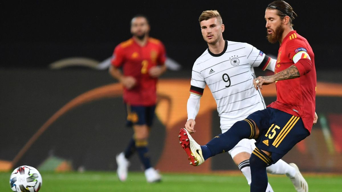 Timo Werner (Germany) and Sergio Ramos (Spain) - UEFA Nations League