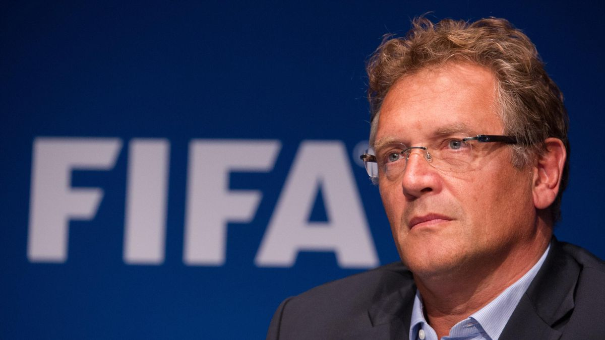 This file photo taken on September 26, 2014 shows FIFA Secretary General Jerome Valcke giving a press conference