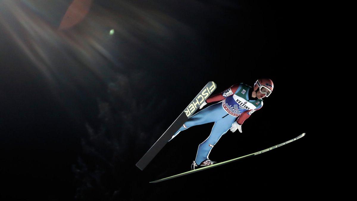 Thomas Kraft, lors de son saut à Bischofshofen en Autriche en 2015